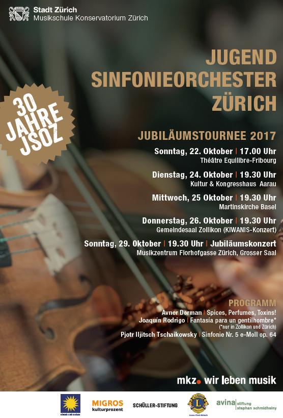 Konzert Jugend Sinfonieorchester Zürich, 30 Jahre JSOZ am 26. Oktober 2017